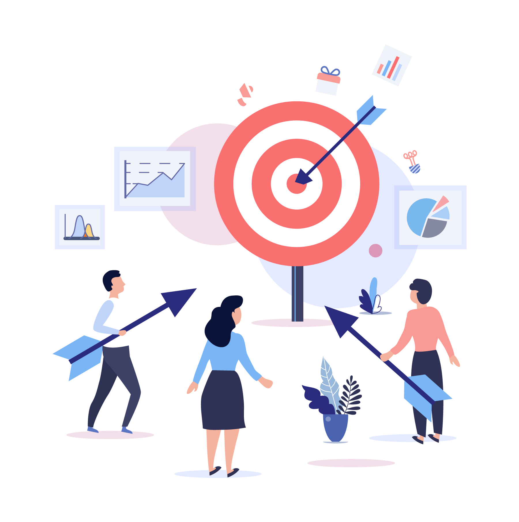 Ilustração Estruture metas e objetivos para você gestor e para a sua equipe de Call Center